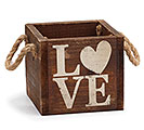 WOOD LOVE CRATE W/ JUTE HANDLES PLANTER