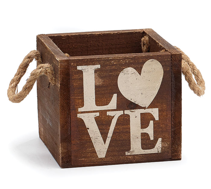WOOD LOVE CRATE W/ JUTE HANDLES PLANTER