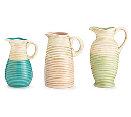 PITCHER RIBBED ASTD COLORS/SHAPES