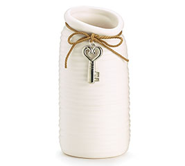 WHITE CERAMIC RIBBED VASE WITH KEY CHARM