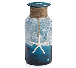 VASE GLASS SUMMER SHELL BLUE