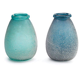 SANDBLASTED BLUE/GREEN GLASS VASE