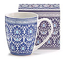 BLUE AND WHITE FLORAL MUG W/ BOX