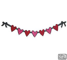GARLAND FELT HEARTS PINK  RED