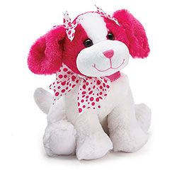 PLUSH WHITE/HOT PINK VALENTINE PUPPY