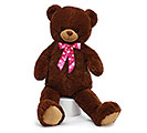 PLUSH DARK BROWN BEAR WITH HOT PINK BOW