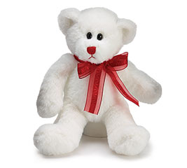 PLUSH WHITE BEAR WITH RED BOW