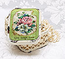 DECOR TRINKET BOX ANTIQUE WHITE W/ROSES