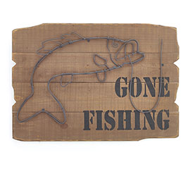 WALL HANGING GONE FISHING WITH BASS