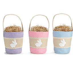 BASKET LINEN WITH BUNNY SILHOUETTE ASTD