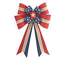 LARGE PATRIOTIC BURLAP BOW