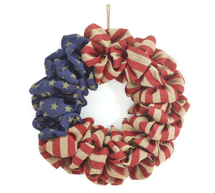 Christmas Ribbon Wreaths.Patriotic Burlap Flag Wreath