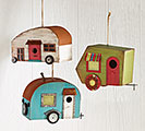 WOOD/TIN CAMPER SHAPED BIRDHOUSE SET
