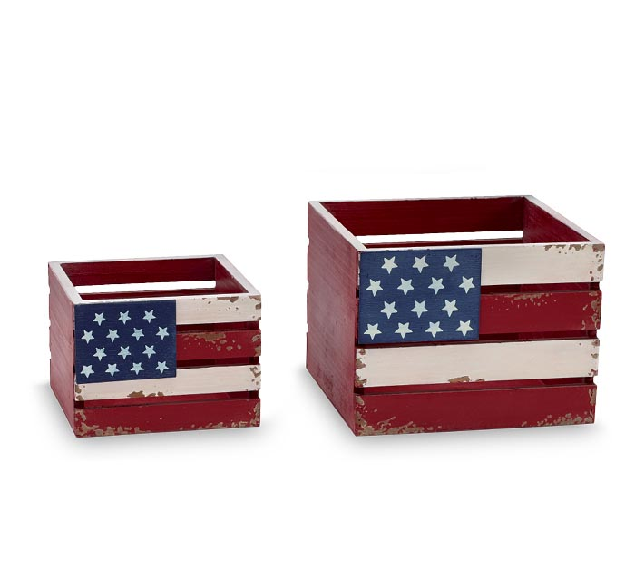 PATRIOTIC NESTED WOOD CRATE SET
