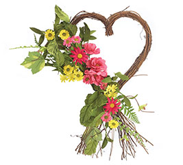 WREATH HEART SHAPE WITH FLORAL ARRANGEME