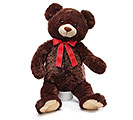 PLUSH DARK BROWN BEAR WITH RED BOW
