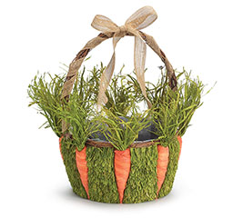 RATTAN BASKET W/ CARROT/GRASS ACCENTS