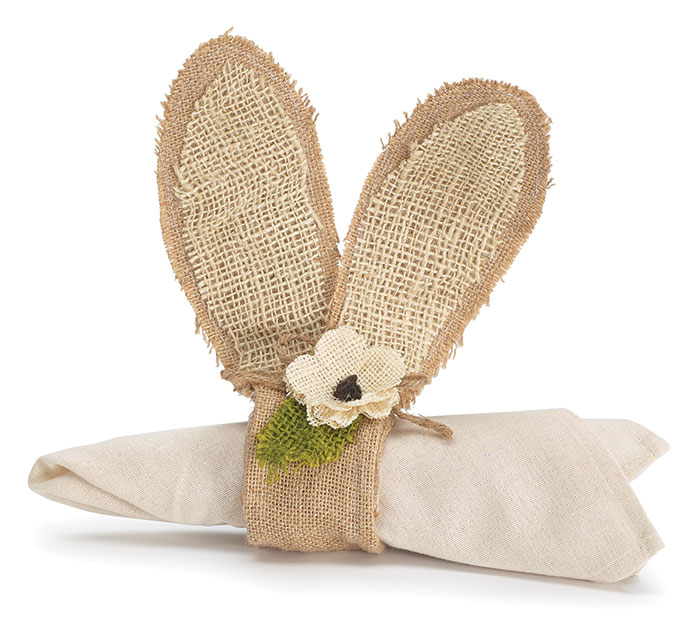 NAPKIN RING BUNNY EARS NATURAL BURLAP