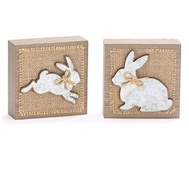 BUNNIES ON BURLAB WOOD SHELF SITTER