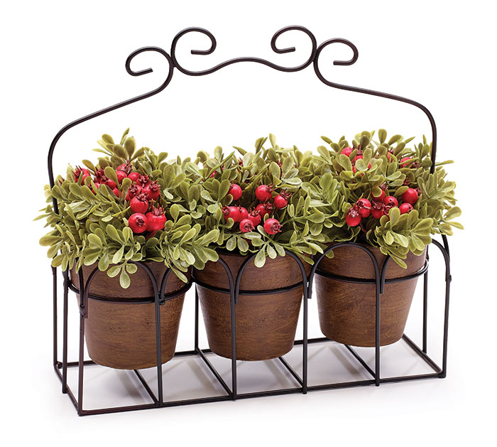 FLORAL CADDY HOLDING 3 POTTED PLANTS