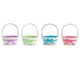 WHITE WILLOW BASKET W/ASSORTED DOT LINER