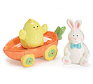 BUNNY/CHICK/CARROT CART SALT/PEPPER SET