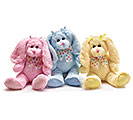 PLUSH PINK/BLUE/YELLOW LONG EAR BUNNY SE