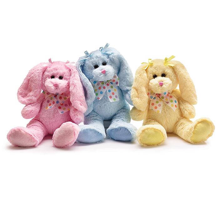 Plush Pink Blue Yellow Long Ear Bunny Se