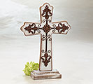 RUSTIC WOOD/METAL CROSS SHELF SITTER