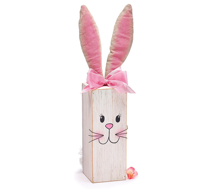 DECOR WOOD POST BUNNY