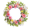 "WREATH 23"" PINK AND YELLOW DAISIES"