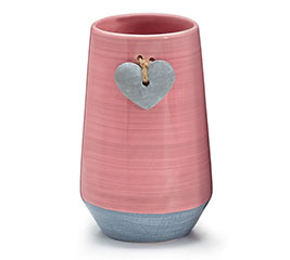 VASE PINK/GREY WITH GREY HEART