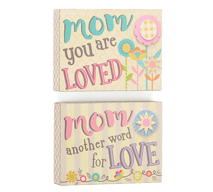 DECOR WOOD MOM PLAQUES WITH ASTD MESSAGE