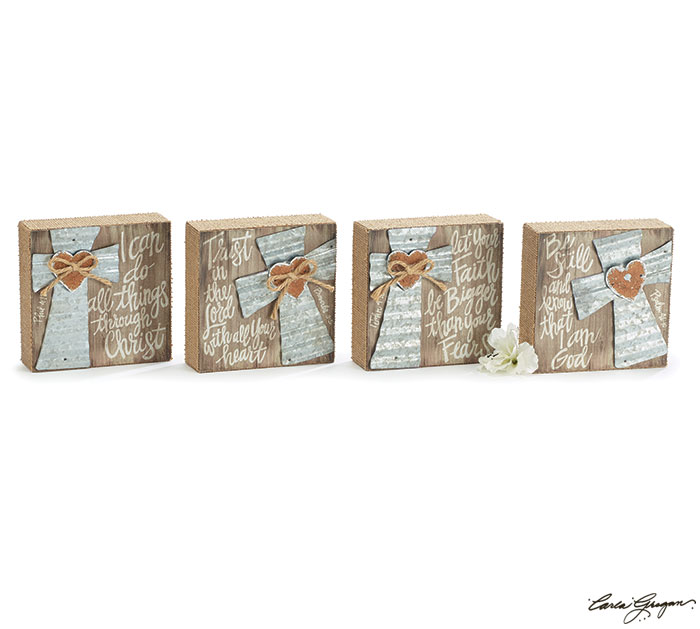 METAL CROSS WOOD BLOCK SET