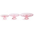 PINK DEPRESSION GLASS CAKE PLATE SET