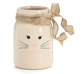 BUNNY FACE WITH BURLAP BOW MASON JAR