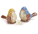 YELLOW/BLUE CERAMIC BIRD FIGURINE PAIR