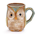 BLUE/GREEN OWL PORCELAIN MUG