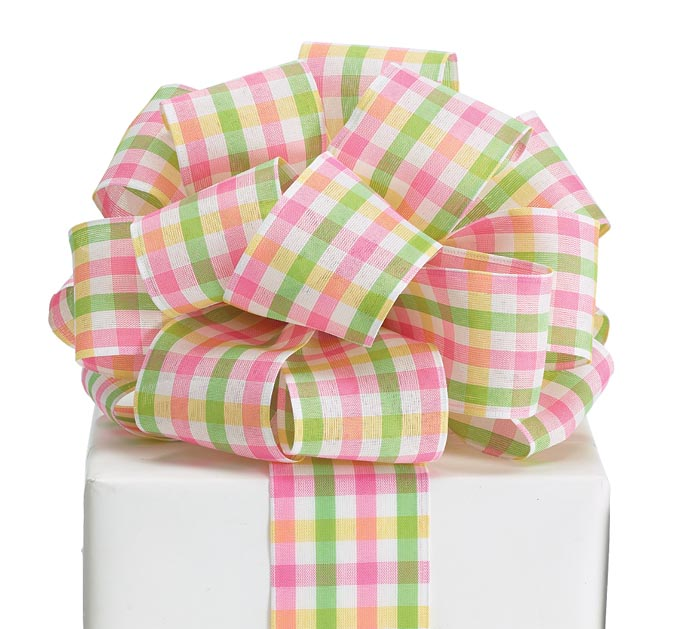 40 SPRING PLAID WIRED RIBBON