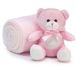 PLUSH PINK BEAR W/BLANKET/GIFT CONTAINER