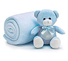 PLUSH BLUE BEAR W/BLANKET/GIFT CONTAINER