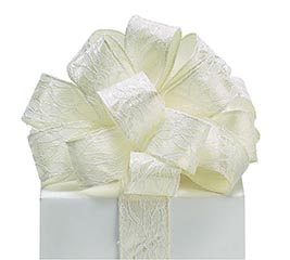 #9 IVORY LACE OVERLAY WIRED SATIN RIBBON