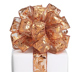 #9 COPPER SWIRL SHEER WIRED RIBBON