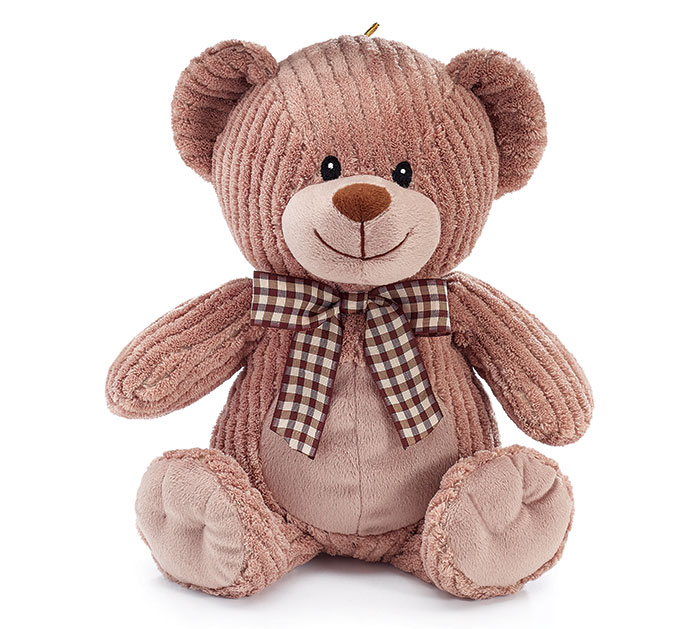 PLUSH BROWN CORDUROY BEAR W/ CHECKED BOW