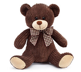 PLUSH DARK BROWN CORDUROY BEAR
