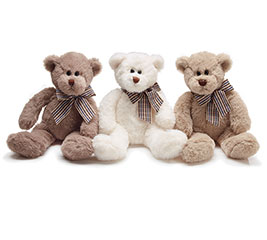 PLUSH BROWN BEAR TRIO W/ CHECKED BOW