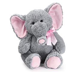 PLUSH GRAY BABY GIRL ELEPHANT