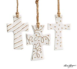 WHITER THAN SNOW CROSS ORNAMENT SET