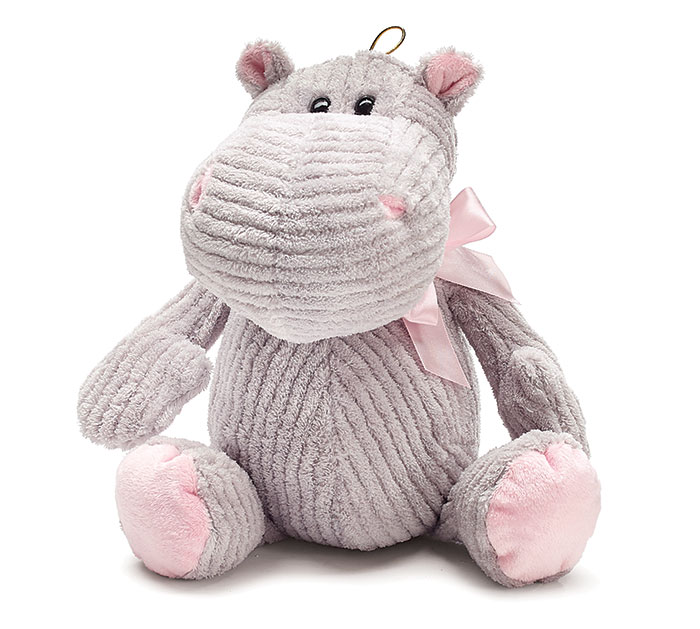PLUSH GRAY CORDUROY HIPPO W/PINK BOW