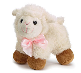 PLUSH STANDING LAMB WITH PINK SATIN BOW
